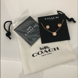 Authentic Coach Tea Rose Necklace and Earring set